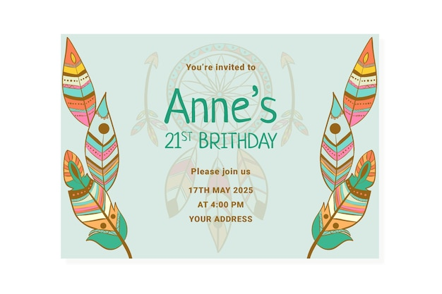 Modello di invito di compleanno boho dettagliato