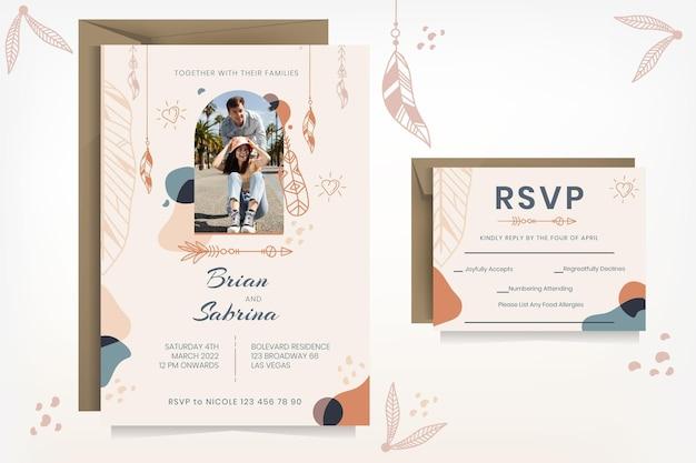 Modello di invito a nozze boho dettagliato con foto