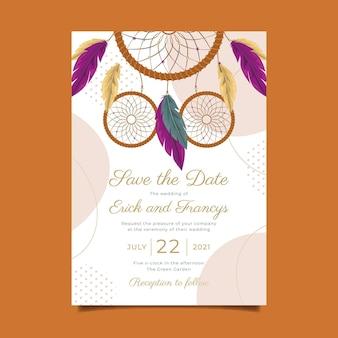 Подробный шаблон свадебного приглашения в стиле бохо