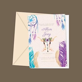 Detailed boho wedding invitation template