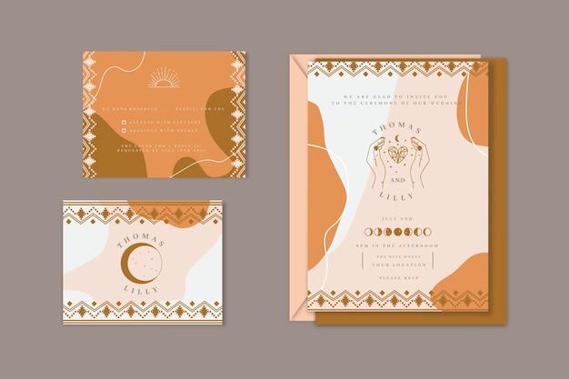 Detailed boho wedding stationery collection