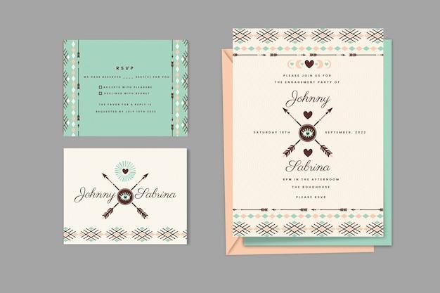 詳細な自由奔放に生きる結婚式の文房具コレクション