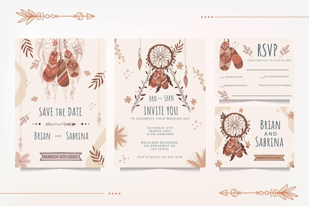 Подробные свадебные канцелярские товары в стиле бохо