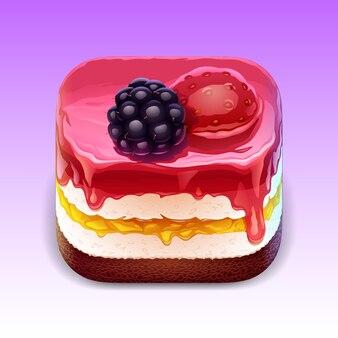 ベリーとゼリーの詳細なケーキのイラスト