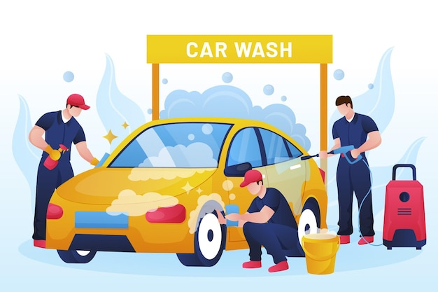 Подробная иллюстрация концепции обслуживания автомойки