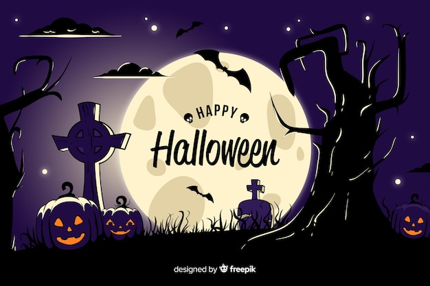 Detailed cemetery view halloween background