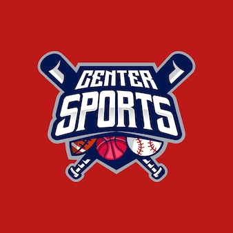 Detailed center sports and esport logo template
