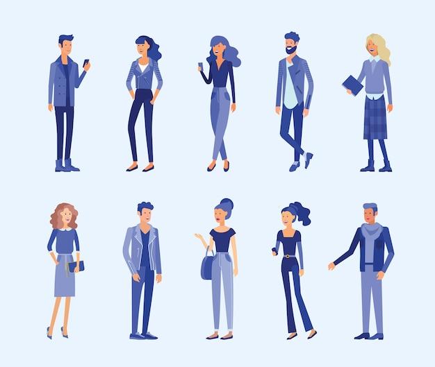 자세한 캐릭터 사업 사람들. 세련 된 옷에 가제트와 남녀. 평면 그림