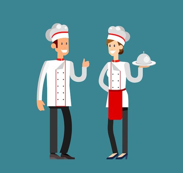 자세한 문자 여자와 남자 전문 요리사 요리사 또는 베이커. 평면 디자인 일러스트
