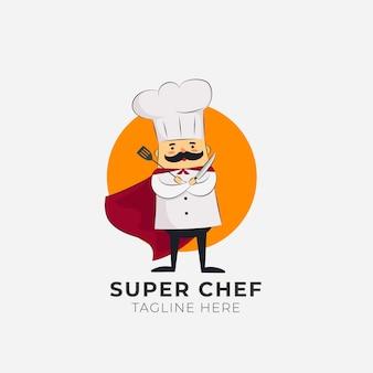Modello di logo chef dettagliato