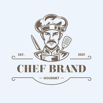 Подробный шаблон логотипа шеф-повара