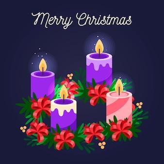 양 초 및 리본 상세한 크리스마스 화 환