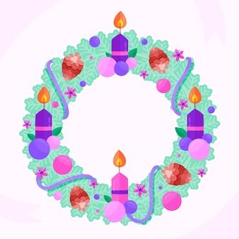 キャンドルと装飾が施された詳細なクリスマスリース