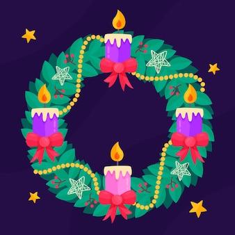 キャンドルと星の詳細なクリスマスリース