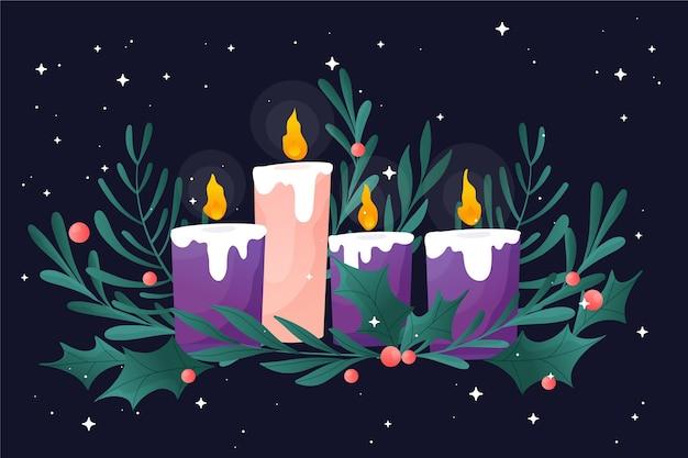 キャンドルと詳細なクリスマスリース