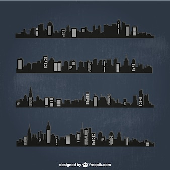 Detailed cities silhouettes at night