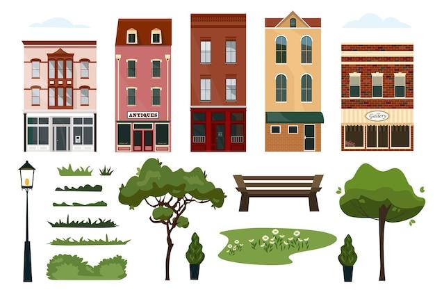 Подробная коллекция разноцветных домов на городской улице с вывесками, магазин фонарей, деревьев, растений