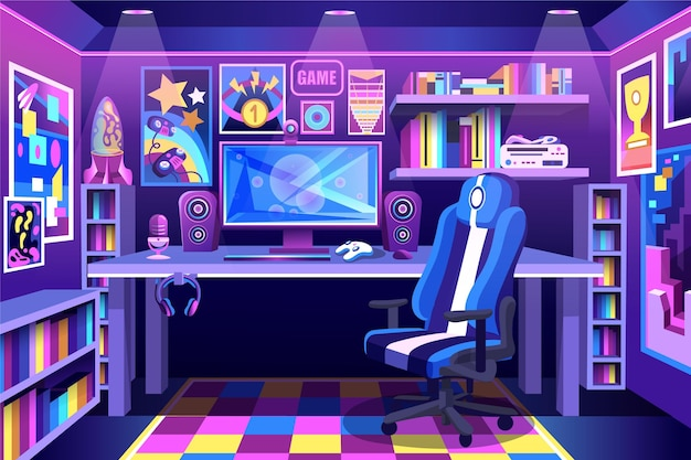Detailed colorful gamer room