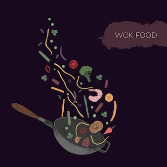 Detailed colorful illustration of wok and seafood, vegetables, mushrooms, noodles, spices thrown out of it.