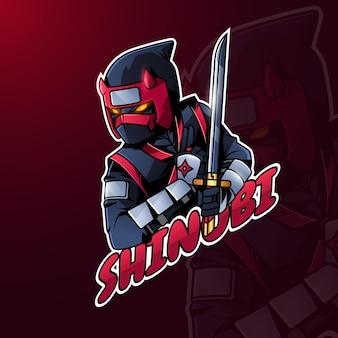 Detailed colorful ninja logo