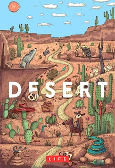 Detailed colorful vector illustration. wild life in desert with animals, birds and plants