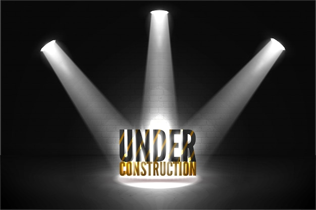Detailed under construction 404 error illustration.  striped yellow and black text in bright beam of spotlights with glow. page is coming soon.