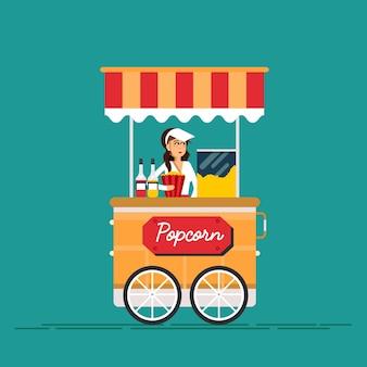 팝콘 기계와 판매자와 거리 음식 판매 카트에 대한 자세한 창조적 인 그림.