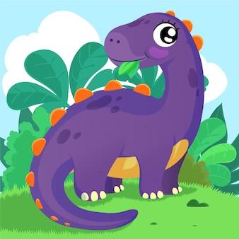 Детальный милый маленький динозавр
