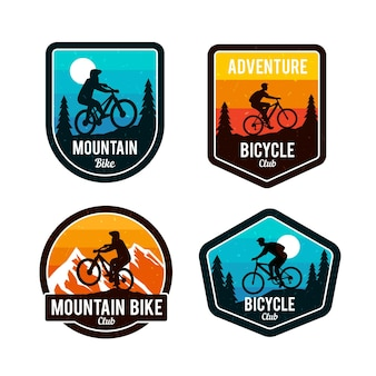 Detailed cyclist bike logo template