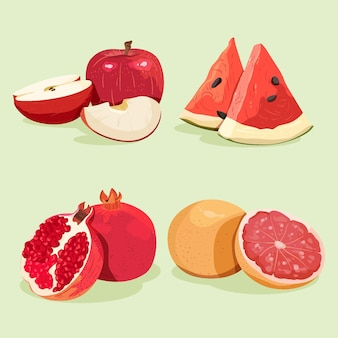 Detailed delicious fruit collection