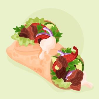 Подробная иллюстрация вкусной шаурмы