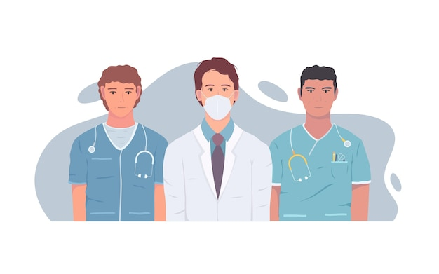 Подробные иллюстрации врачей и медсестер