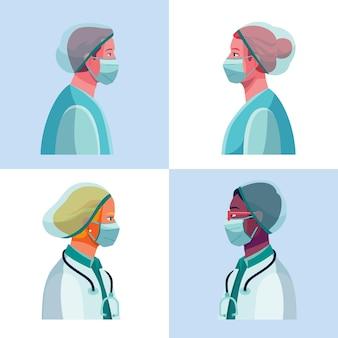 자세한 의사와 간호사 그림