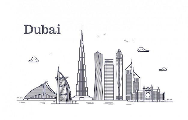 Detailed dubai line vector cityscape with skyscrapers
