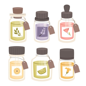 Detailed essential oil herb pack with bottles
