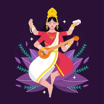 Illustrazione dettagliata di saraswati di progettazione piana