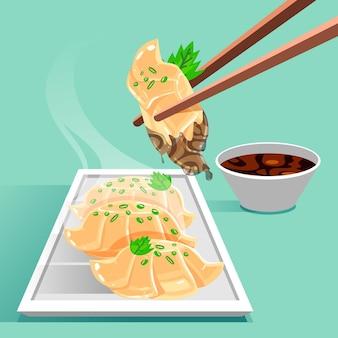Illustrazione dettagliata di gyozas piatto