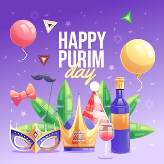 Detailed flat happy purim day