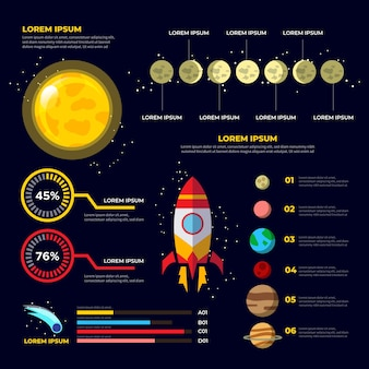 Detailed flat universe infographic