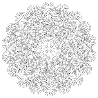 Detailed floral mandala design, vintage decorative element for coloring book, beautiful artistic oriental pattern for anti-stress therapy.