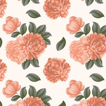 Детальный цветочный узор в персиковых тонах