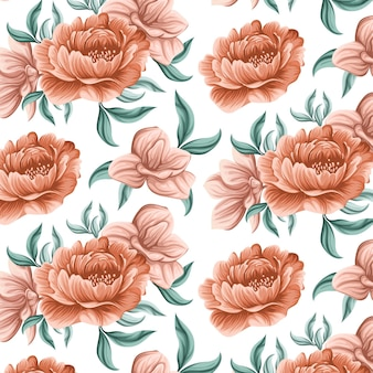 桃色の詳細な花柄