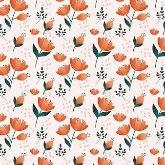 복숭아 톤의 상세한 플로랄 패턴