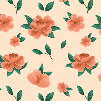 Detailed floral pattern in peach tones