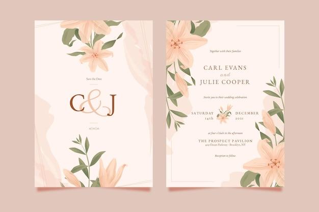 Подробный шаблон цветочного свадебного приглашения