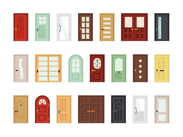 Подробный набор плоских входных дверей