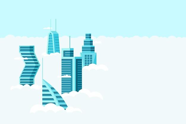 구름 위의 다른 건축 높은 건물 고층 빌딩 아파트와 상세한 미래 도시. 미래 도시 풍경 마을입니다. 하늘 평면 그림을 통해 벡터 부동산 건설