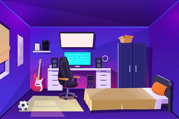 Detailed gamer room illustrated