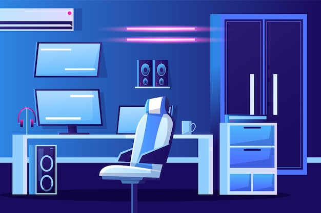 Подробная иллюстрация комнаты игрока