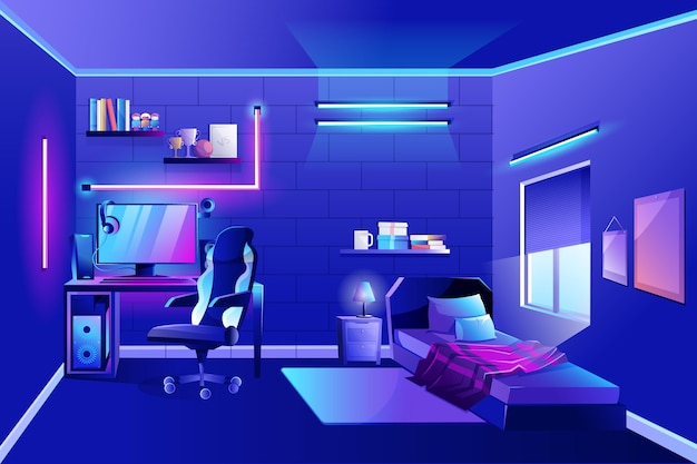 Detailed gamer room with neon lights